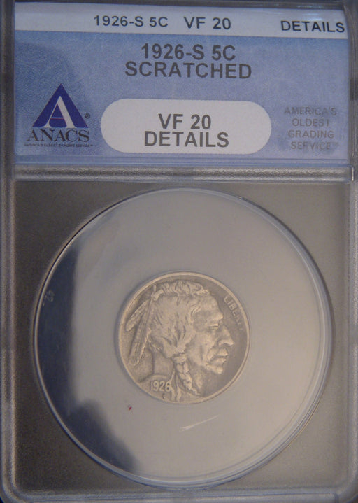 1926-S Buffalo Nickel - ANAC VF20 S