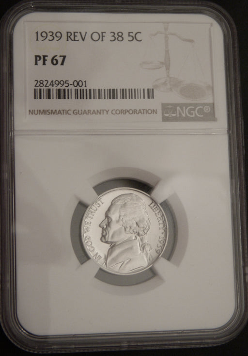 1939 Jefferson Nickel - NGC PF67 Reverse of 38