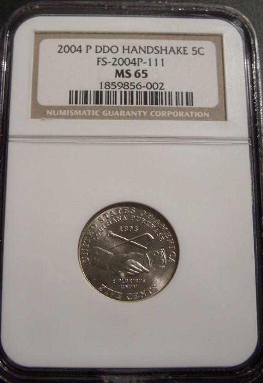 2004-P Jefferson Nickel Handshake - NGC MS65 DDO FS-2004P-111