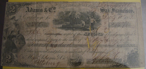 1852 Exchange Note Adams & Co.