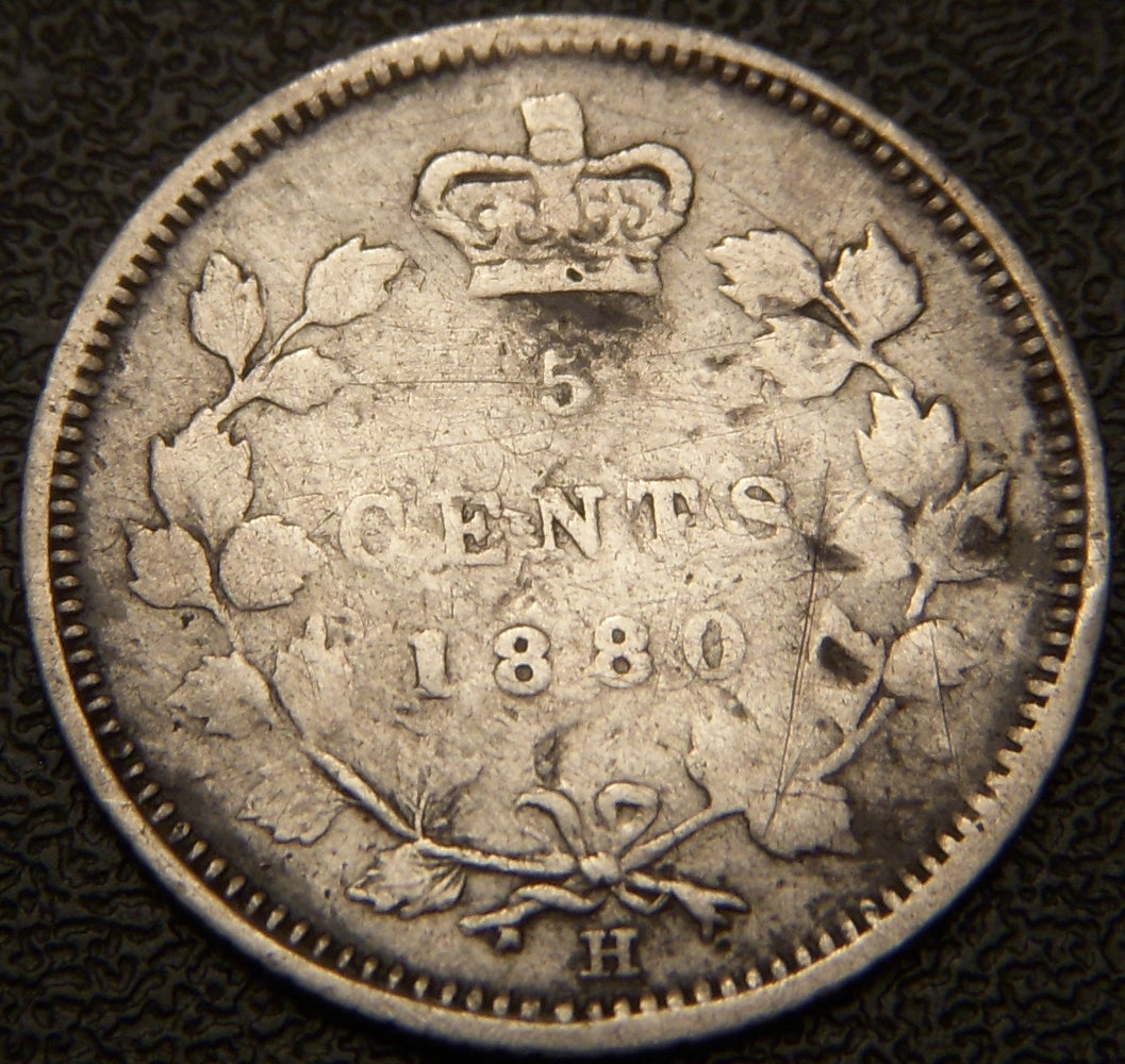 1880H Canadian Silver Five Cent