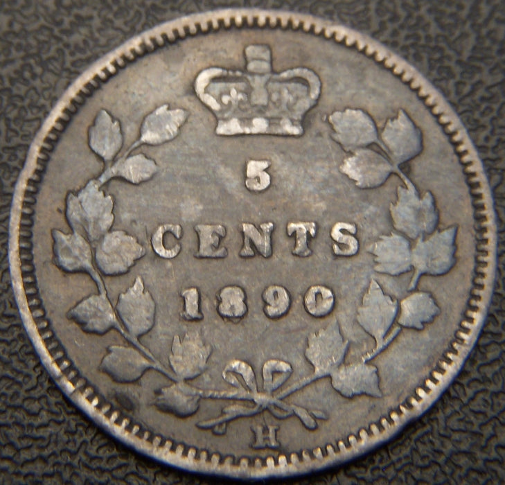 1890H Canadian Silver Five Cent - F