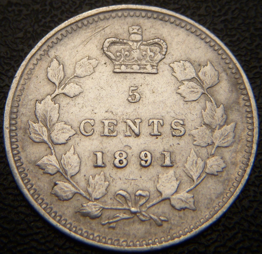 1891 Canadian Silver Five Cent - EF