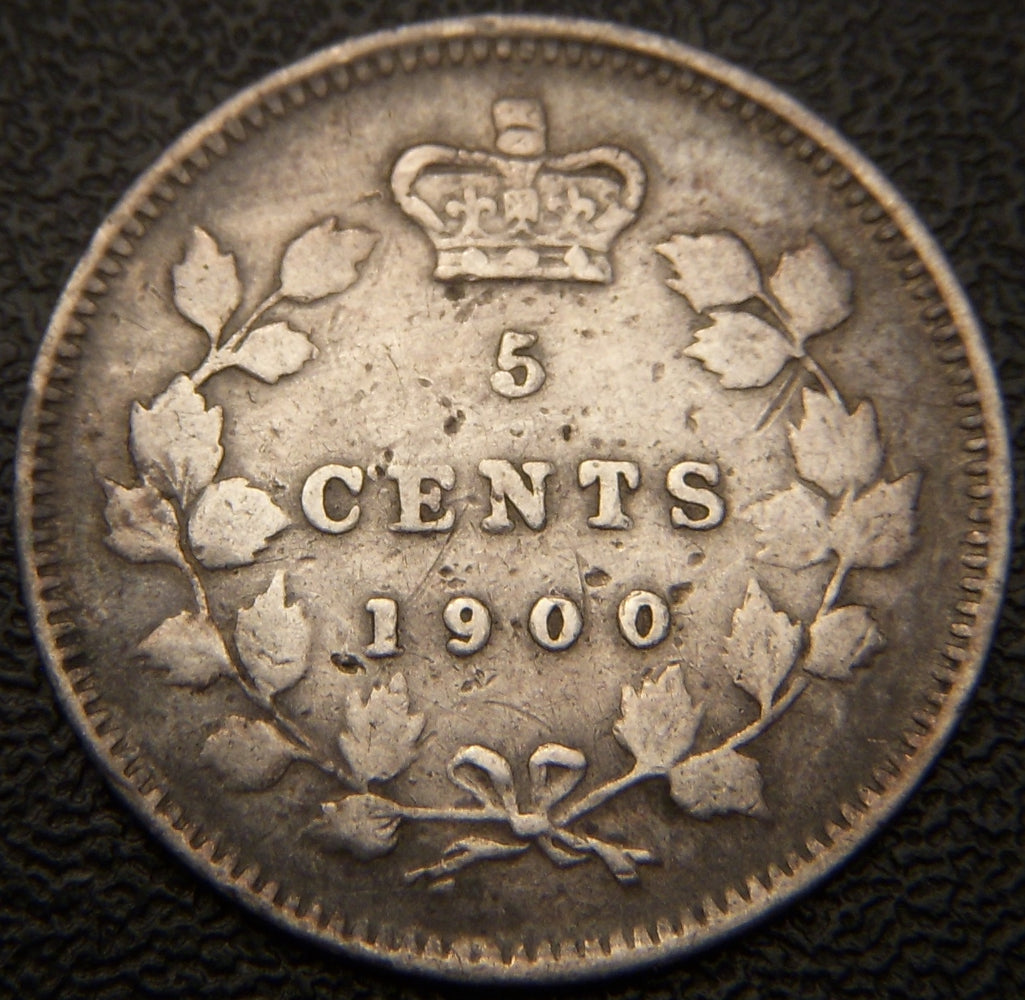 1900 Canadian Silver Five Cent - Oval 0 VG