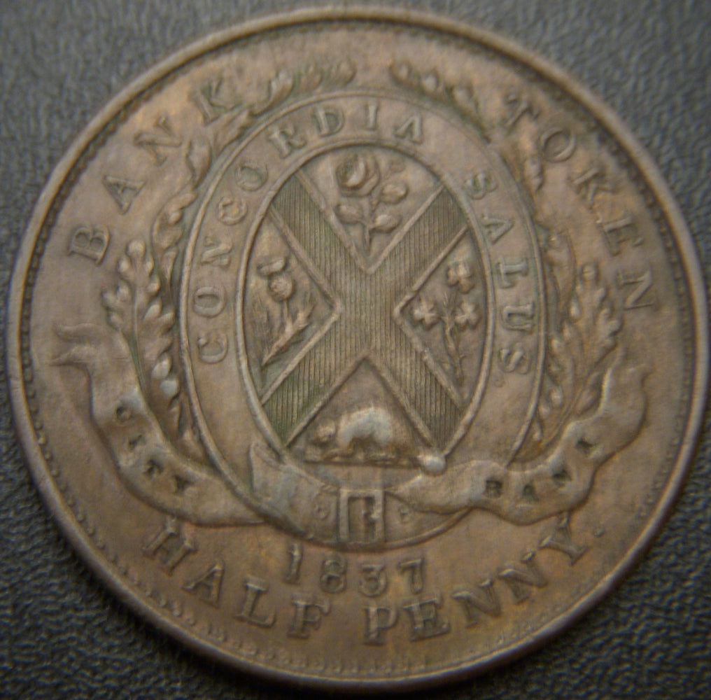 1837 Half Penny City Bank Token