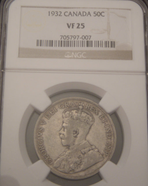 1932 Canadian Half Dollar - NGC VF25
