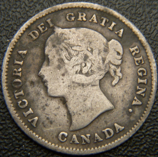 1874H Canadian Silver Five Cent  - Crosslet 4 Fine