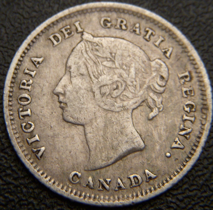 1880H Canadian Silver Five Cent - VF
