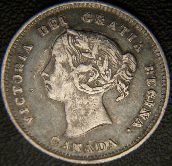 1886 Canadian Silver Five Cent - Small 6 VF