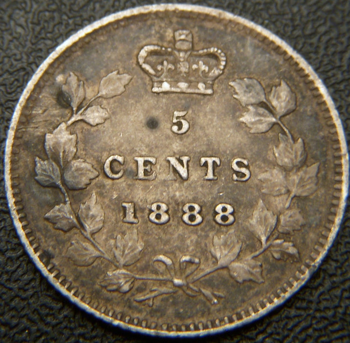 1888 Canadian Silver Five Cent - VF