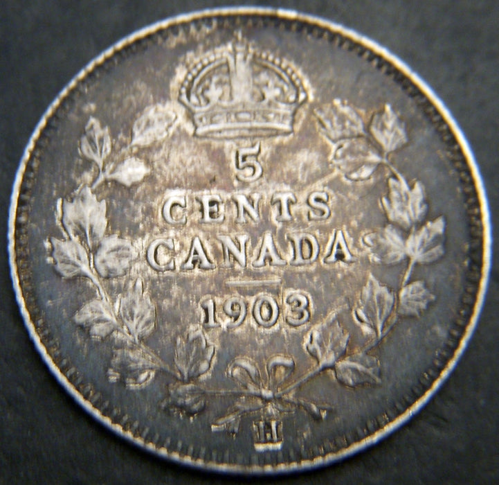 1903H Canadian Silver Five Cent - Sm H  VF