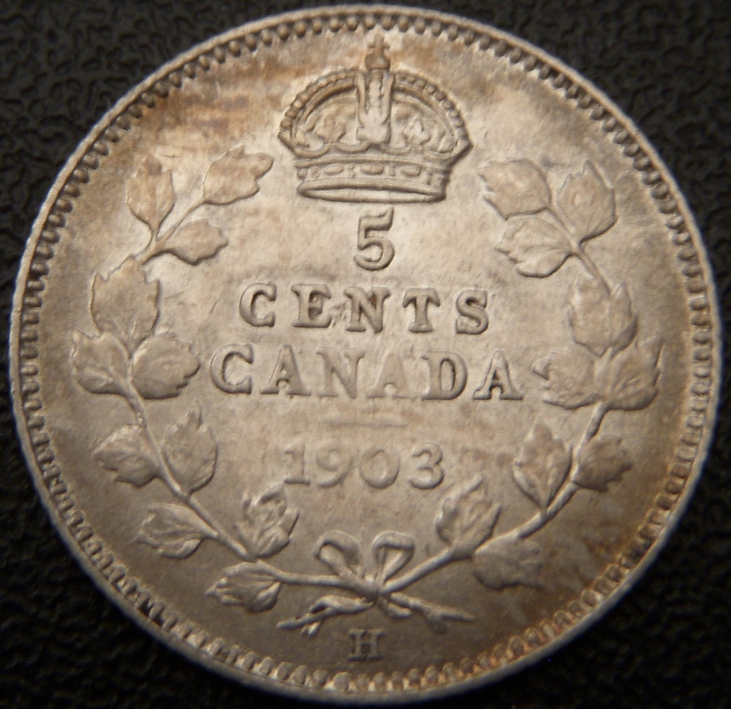 1903H Canadian Silver Five Cent - EF