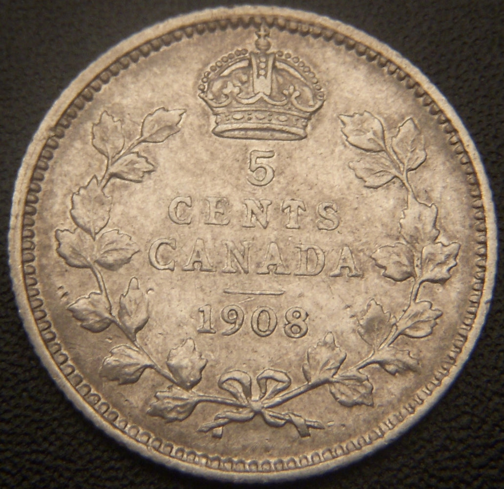 1908 Canadian Silver Five Cent - EF