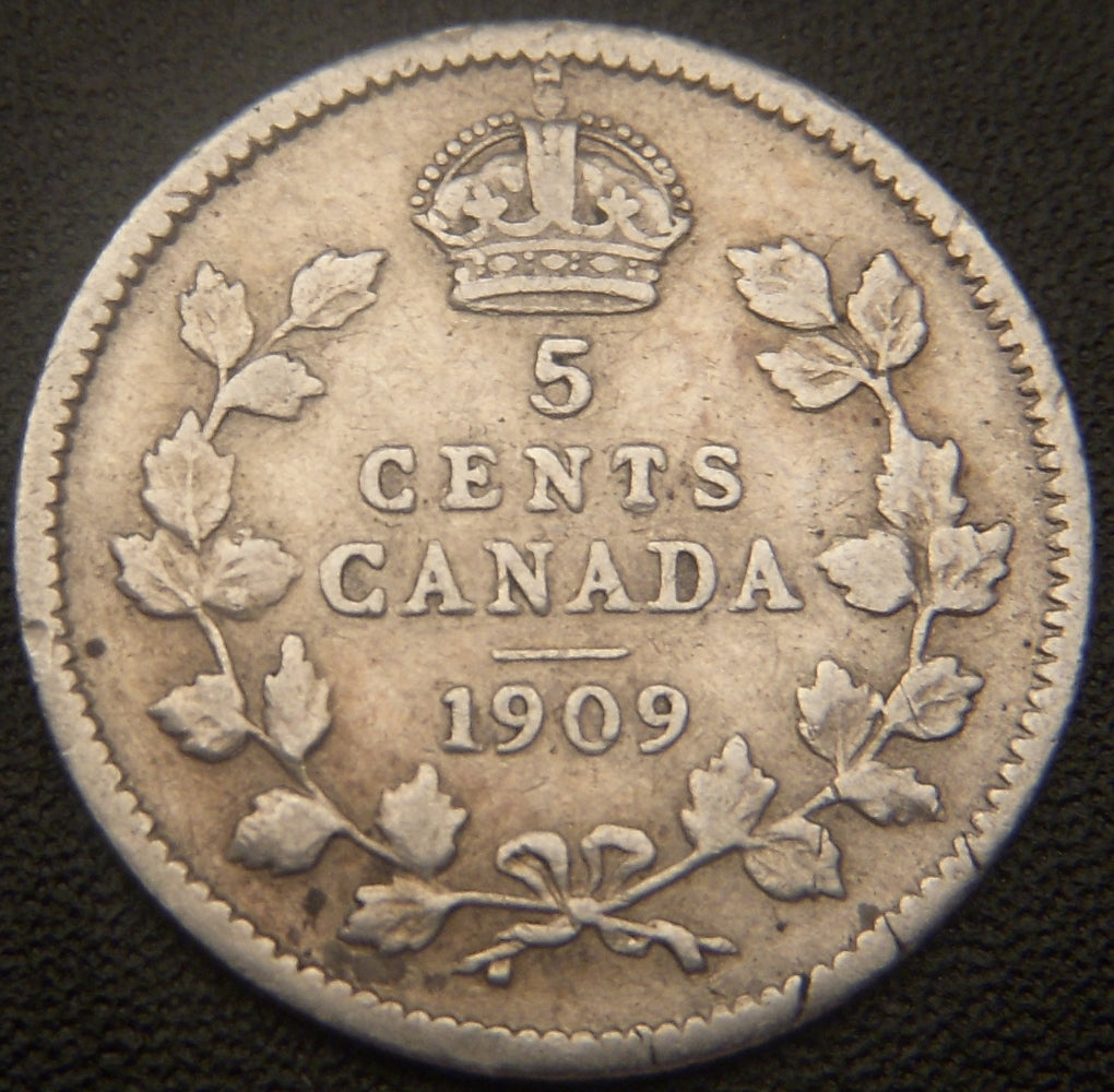 1909 Canadian Silver Five Cent -  Round Leaf VF