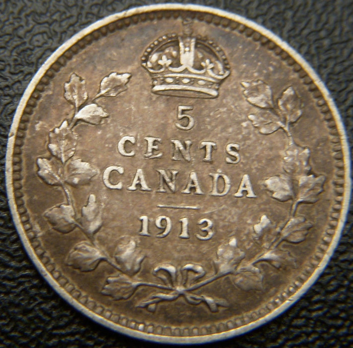 1913 Canadian Silver Five Cent - Fine