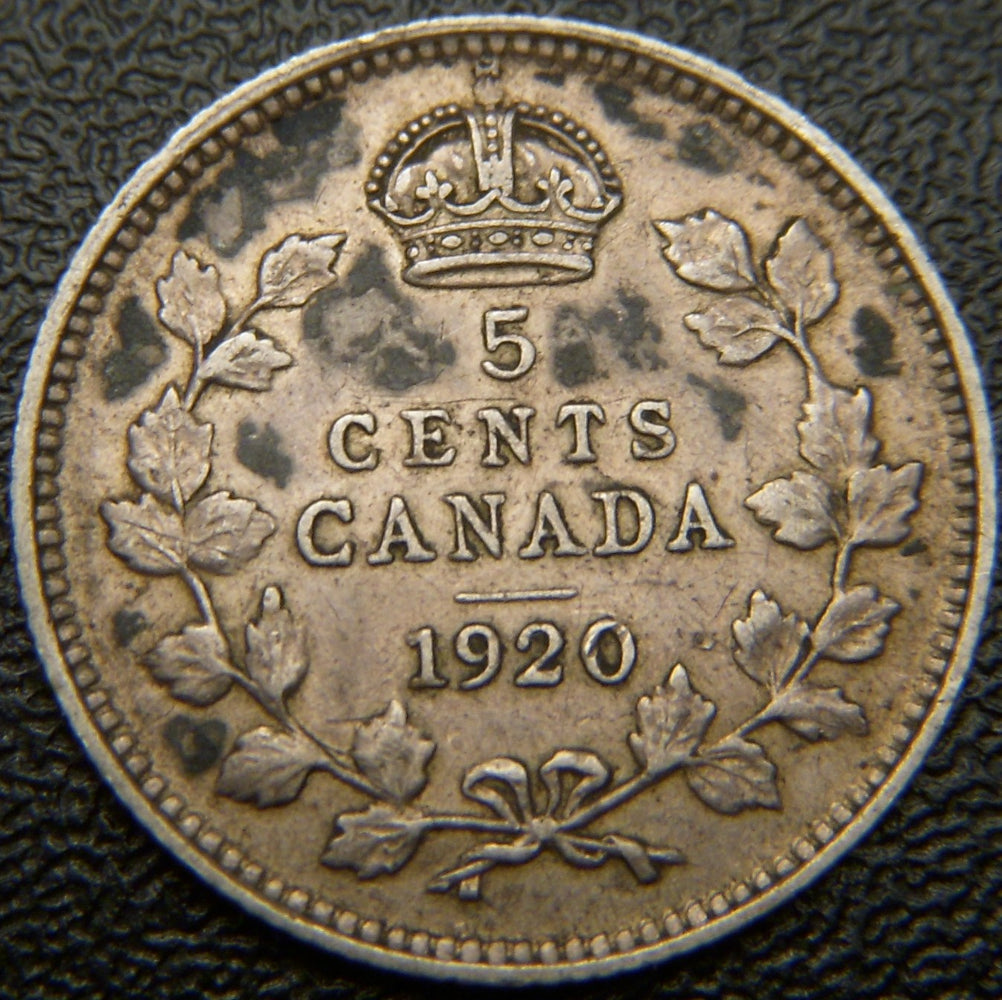 1920 Canadian Silver Five Cent - Fine