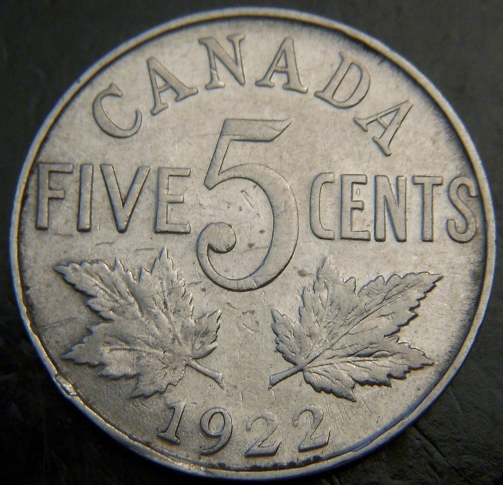 1922 Canadian Five Cent - VG/Fine