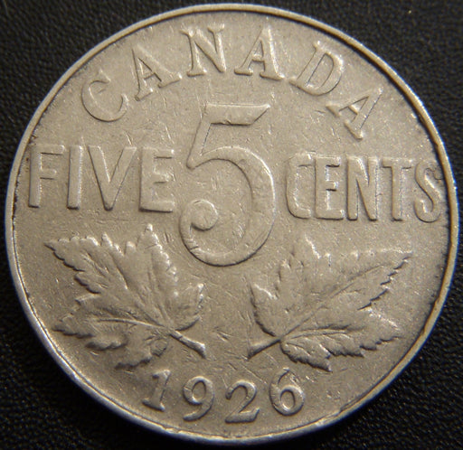 1926 Canadian Five Cent - Far 6 Variety Very Good