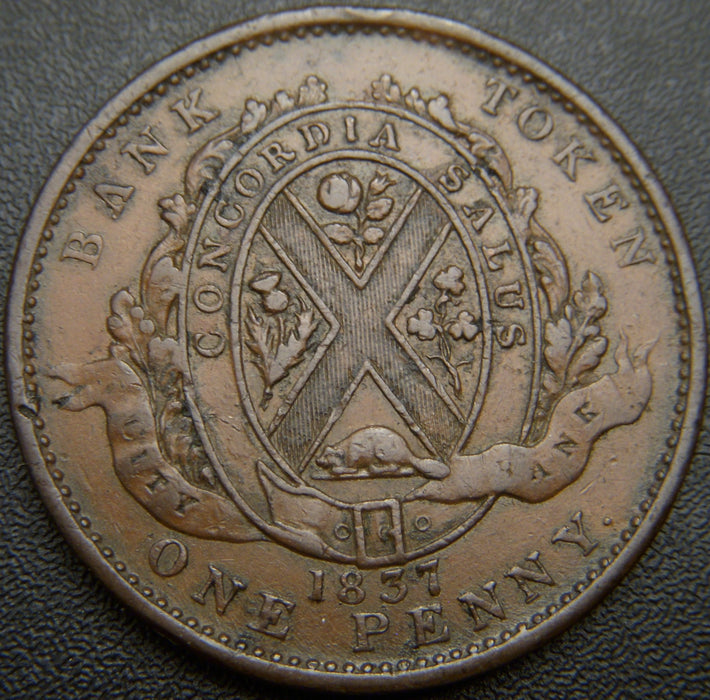 1837 One Penny City Bank Token