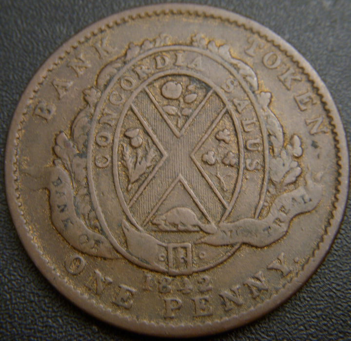1842 1 P Montreal Bank Token