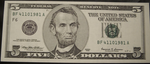 1999 (F) $5 Federal Reserve Note - Uncirculated