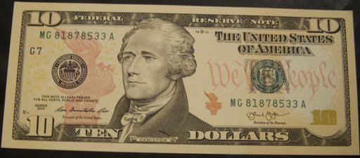 2013 (G) $10 Federal Reserve Note - Unc.