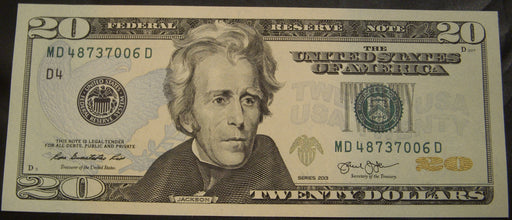 2013 (D) $20 Federal Reserve Note - Unc.