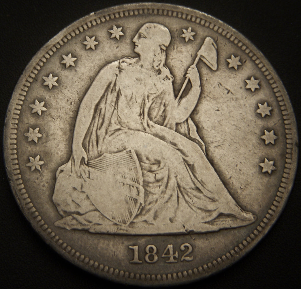 1842 Seated Dollar - Very Good