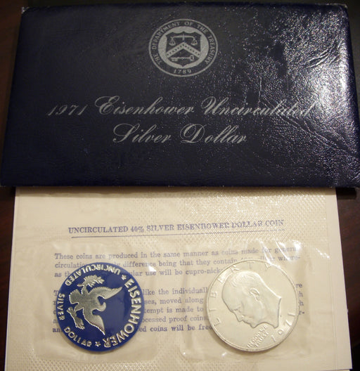 1971-S Eisenhower Dollar - 40% Silver Blue Ike Government Packaged