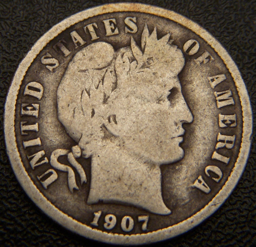 1907 Barber Dime - Solid Good