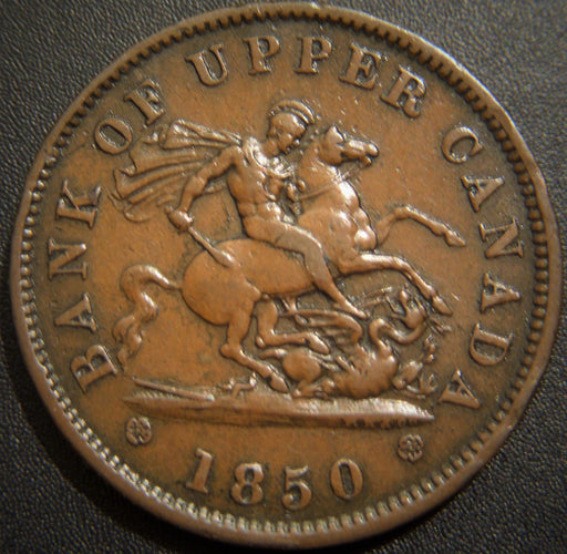 1850 One Penny - Bank Upper Canada Token