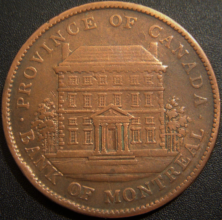 1842 One Penny Montreal Bank Canada Token