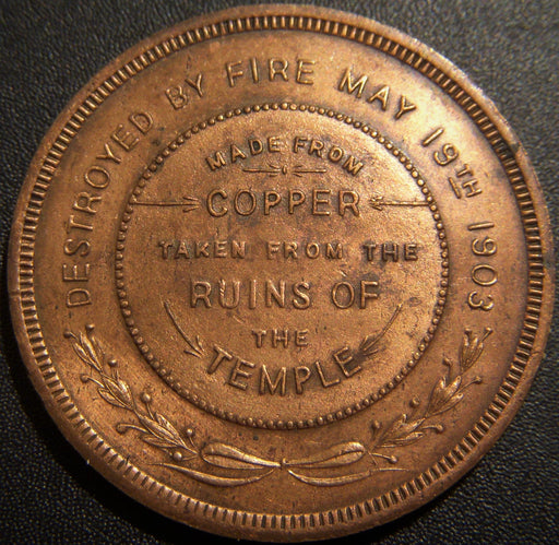 Bay City, Michigan Masonic Temple Copper Medal
