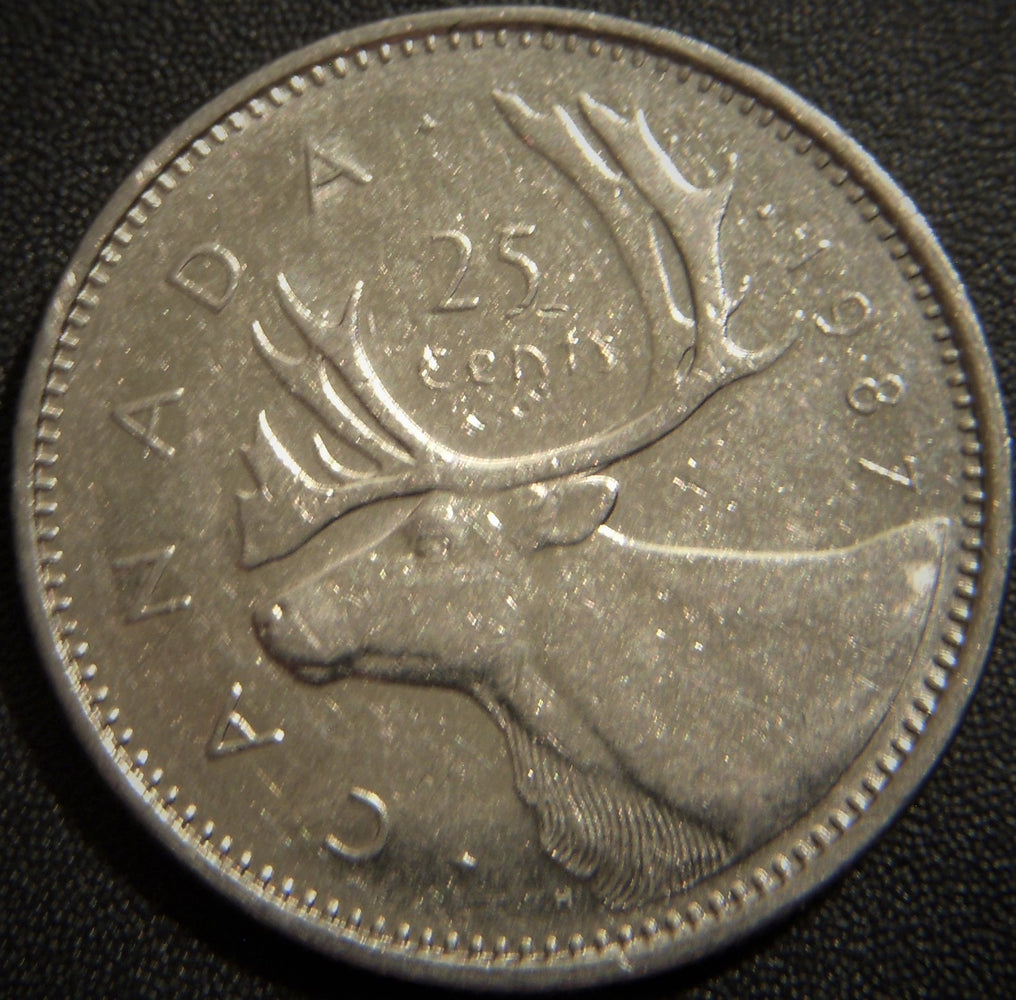 1987 Canadian Quarter - Fine to AU