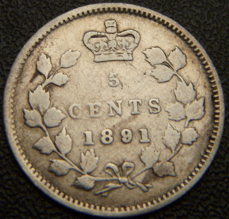 1891 Canadian Silver Five Cent - VG