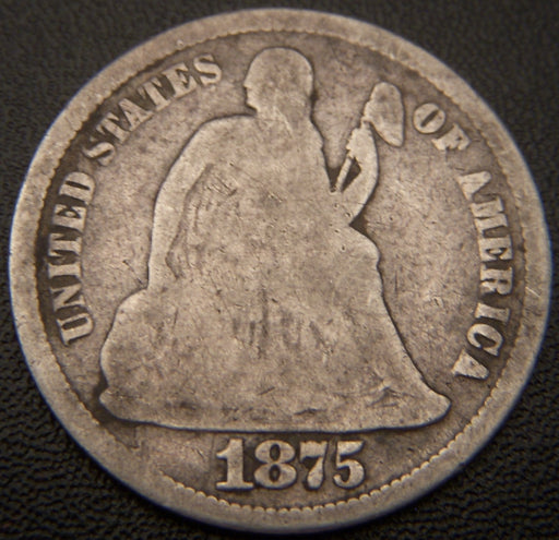 1875 Seated Dime - Good