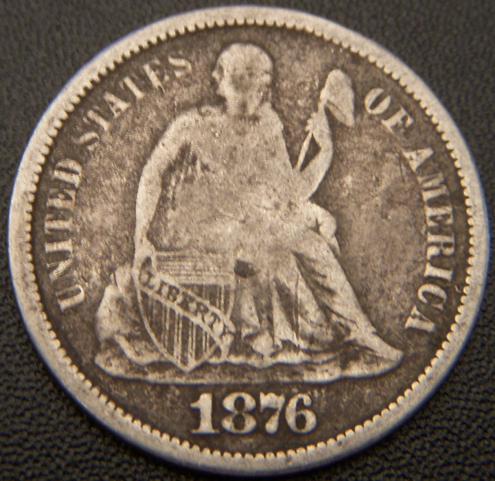 1876 Seated Dime - VG