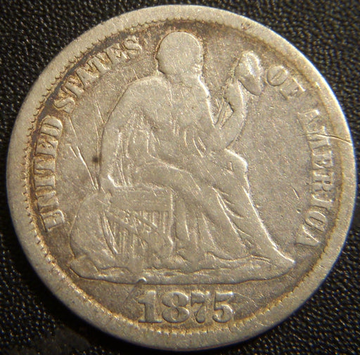 1875 Seated Dime - Very Good