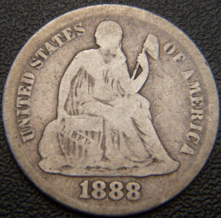 1888 Seated Dime - Very Good