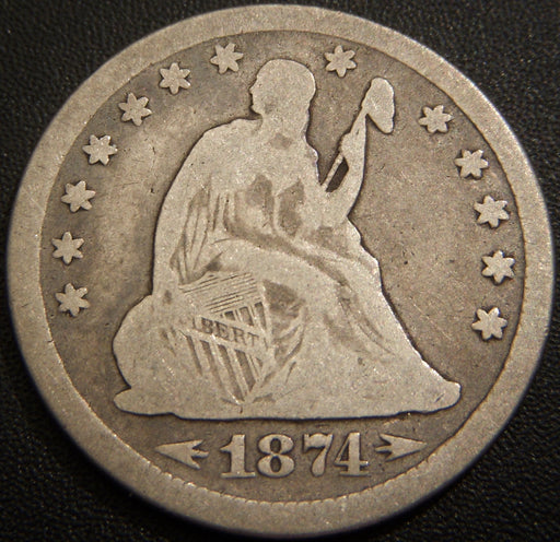 1874 Seated Quarter - Very Good