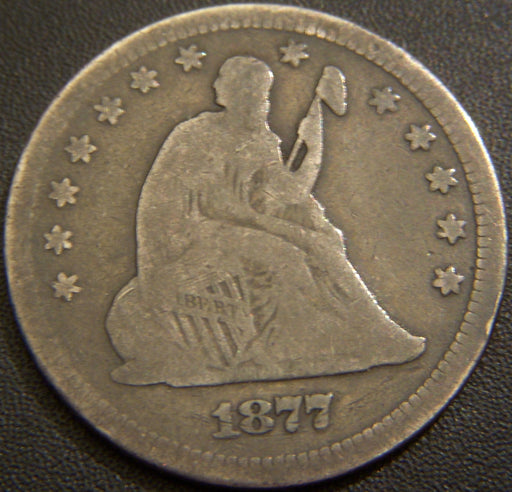 1877 Seated Quarter - Very Good