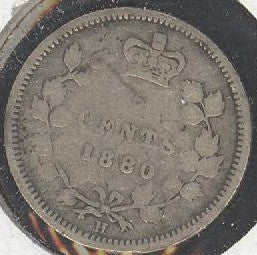 1880H Canadian Silver Five Cent - Good