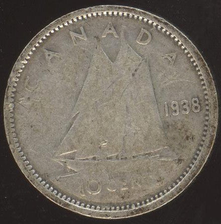 1938 Canadian 10C -  VG/Fine +