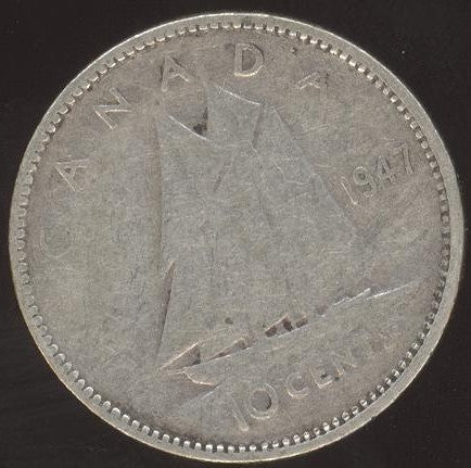 1947 Canadian 10C -  VG/Fine +