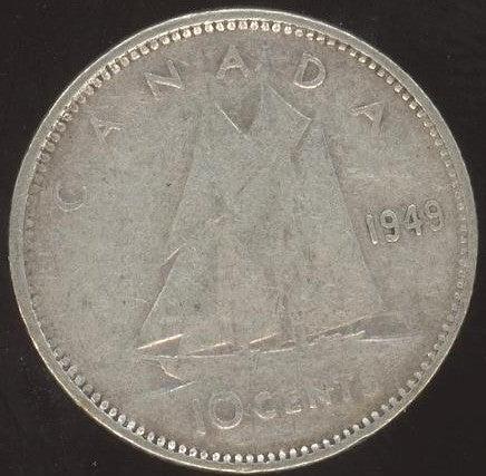 1949 Canadian 10C -  VG/Fine +