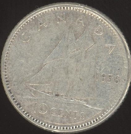 1956 Canadian Ten Cent -  VG/Fine +