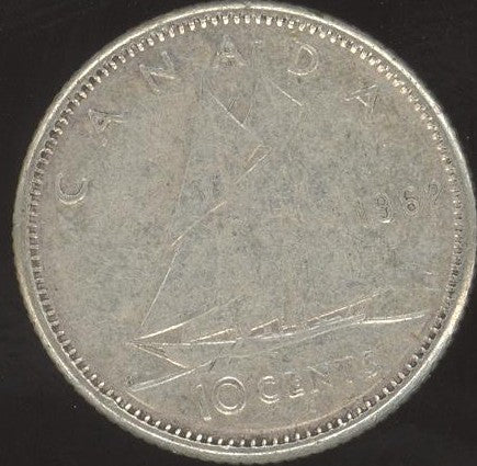 1962 Canadian 10C -  VG/Fine +
