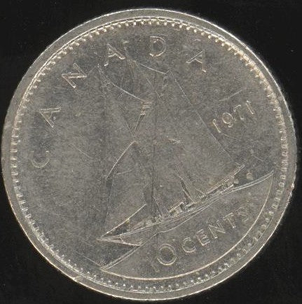 1971 Canadian Ten Cent - Fine to EF