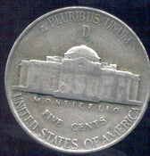 1945-D Silver Jefferson Nickel - Avg Cir