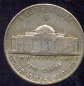 1942-S Silver Jefferson Nickel - Avg Cir